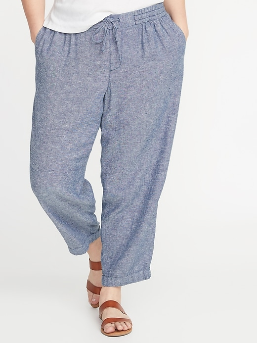 Mid-Rise Plus-Size Straight Linen-Blend Cropped Pants