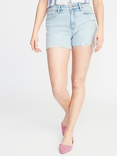 High-Rise Secret-Slim Pockets Distressed Denim Cutoffs for Women - 3-inch inseam