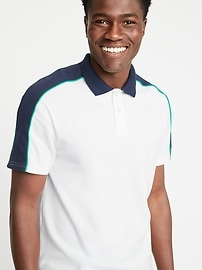 Moisture-Wicking Color-Block Piped Pro Polo for Men