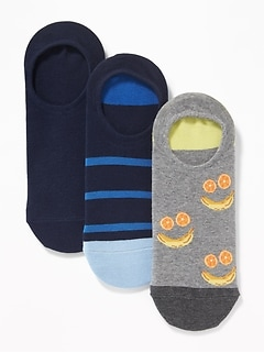 3-Pack Printed No-Show Socks for Men