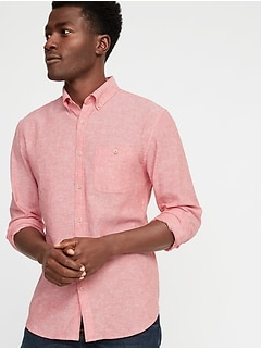Slim-Fit Linen-Blend Shirt for Men