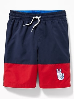 b26bdef56 Color-Blocked Embroidered-Graphic Swim Trunks for Boys