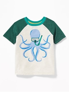 Slub-Knit 3-D Sea Critter Raglan Tee for Toddler Boys
