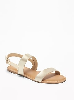 Faux-Leather Double-Strap Slingback Sandals for Women
