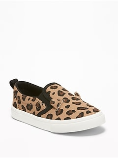 57f583d0676 Leopard-Print Canvas Slip-Ons for Toddler Girls