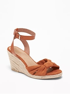 Knotted Faux-Suede Wedge Sandals for Women