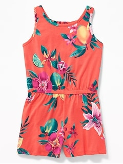 Printed Jersey Racerback Romper for Girls
