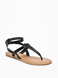 Faux-Leather T-Strap Sandals for Women