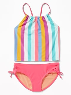 Ruched Tankini Swim Set for Girls