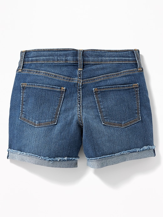 Rolled Fray-Hem Jean Shorts For Girls