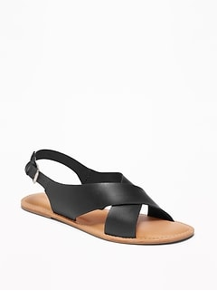 Faux-Leather Cross-Strap Slingback Sandals for Women