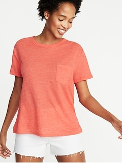 Boyfriend Linen-Blend Pocket Tee for Women