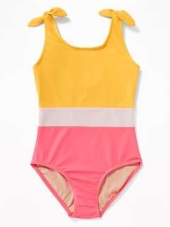 Color-Blocked Tie-Shoulder Swimsuit for Girls