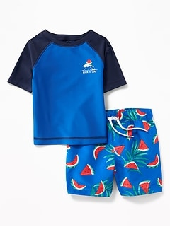 Graphic Rashguard & Printed Swim Trunks Set for Baby