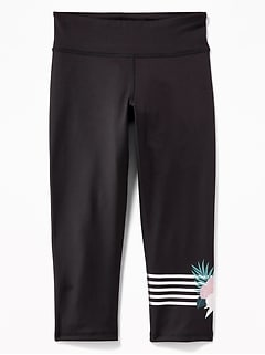 Mid-Rise Graphic Go-Dry Cropped Leggings for Girls