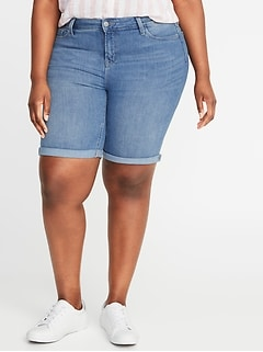 Mid-Rise Secret-Slim Pockets Plus-Size Denim Bermudas - 9-inch inseam