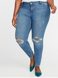 High-Rise Secret-Slim Pockets Distressed Rockstar Plus-Size Super Skinny Jeans
