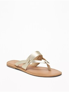 Faux-Leather Capri Slide Sandals for Women