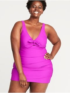 Tie-Front Secret-Slim Plus-Size Swim Dress