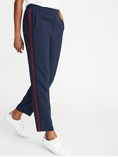 Mid-Rise Side-Stripe Pull-On Track Pants for Women