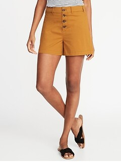 High-Rise Button-Fly Twill Shorts for Women - 4-inch inseam