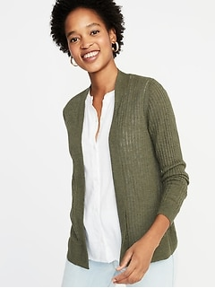 Short Open-Front Textured Sweater for Women