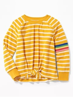 2b2b8aa8a5ab Striped Loop-Terry Tie-Hem Sweatshirt for Girls