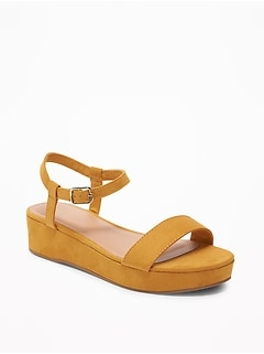 Faux-Suede Ankle-Strap Platform Sandals for Women