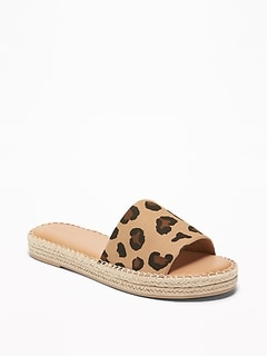 Leopard-Print Espadrille Slide Sandals for Women