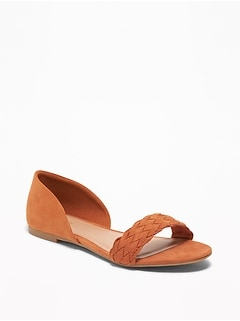 Faux-Suede Braided-Strap Flats for Women
