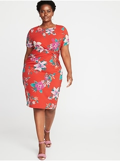 Plus-Size Twist-Front Bodycon Dress