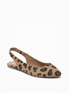 Leopard-Print Slingback Flats for Women