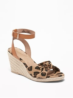 Leopard-Print Espadrille Wedges for Women