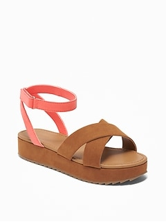 Color-Blocked Faux-Suede Platform Sandals for Girls