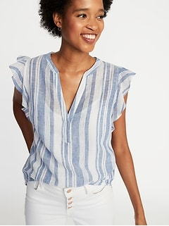 Sleeveless Ruffle-Trim Linen-Blend Top for Women