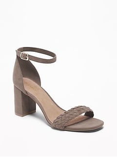 Faux-Suede Braided-Strap Block-Heel Sandals for Women