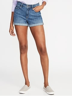 High-Rise Secret-Slim Pockets Cuffed Denim Shorts for Women - 3-inch inseam