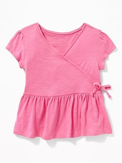 Slub-Knit Faux-Wrap Peplum-Hem Top for Toddler Girls