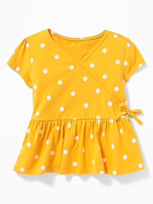 Slub Knit Faux Wrap Peplum Hem Top For Toddler Girls by Old Navy