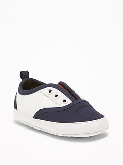 Color-Blocked Canvas Slip-Ons for Baby