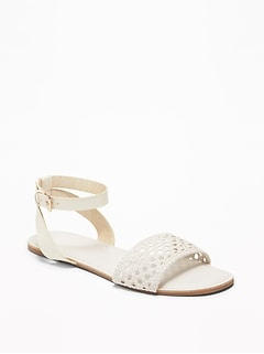 Faux-Leather Ankle-Strap Sandals for Women
