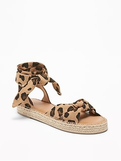 Lace-Up Leopard-Print Espadrilles for Women