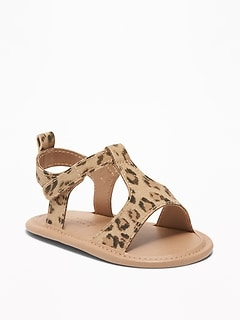 Leopard-Print Canvas T-Strap Sandals for Baby