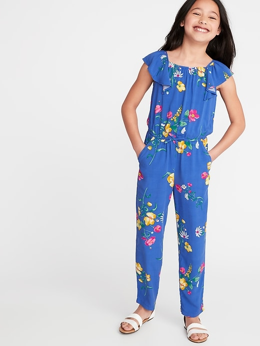 Floral Print Flutter Sleeve Jumpsuit For Girls by Old Navy