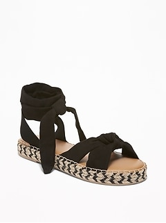 Sueded Lace-Up Platform Espadrilles for Women