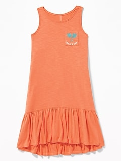 Slub-Knit Tiered-Hem Tank Dress for Girls