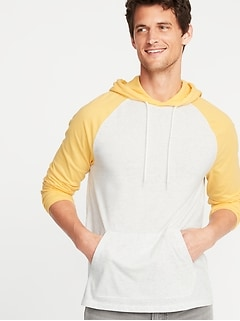 Color-Blocked Pullover Raglan Hoodie for Men