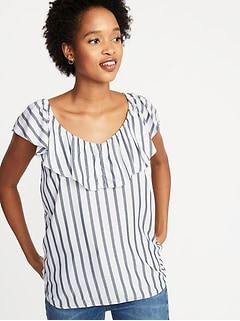 Sleeveless Ruffle-Trim Striped Top for Women
