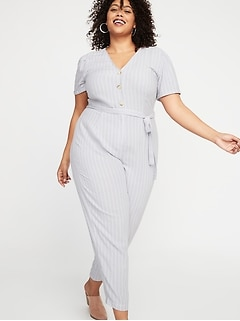 Striped V-Neck Tie-Belt Plus-Size No-Peek Jumpsuit