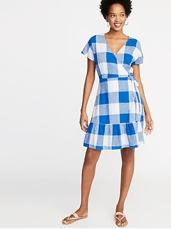 Waist-Defined Wrap-Front Gingham Dress for Women